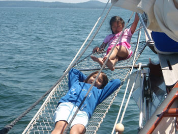 Fun on the Bowsprit Netting