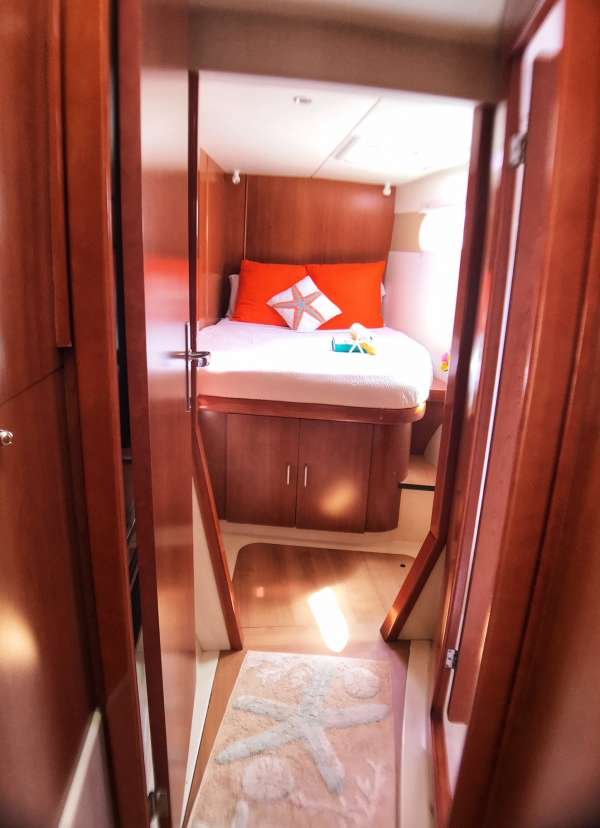 Forward cabin (starboard for guests' use, port side for crew.)