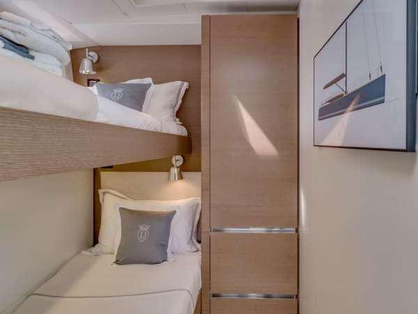 Starboard cabin with bunk beds