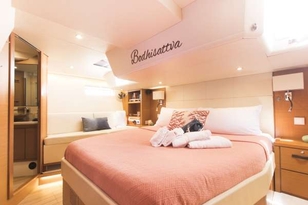Spacious master King cabin with walk around berth